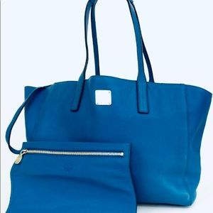 MCM Deep Ocean Leather Tote Bag